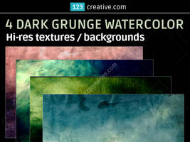 4 Dark grunge watercolor backgrounds textures by 123creative