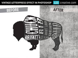 Vintage letterpress texture effect in Photoshop by 123creative