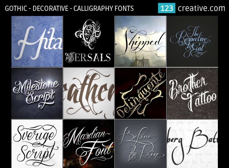 Gothic Decorative Calligraphy Fonts By 123creative On