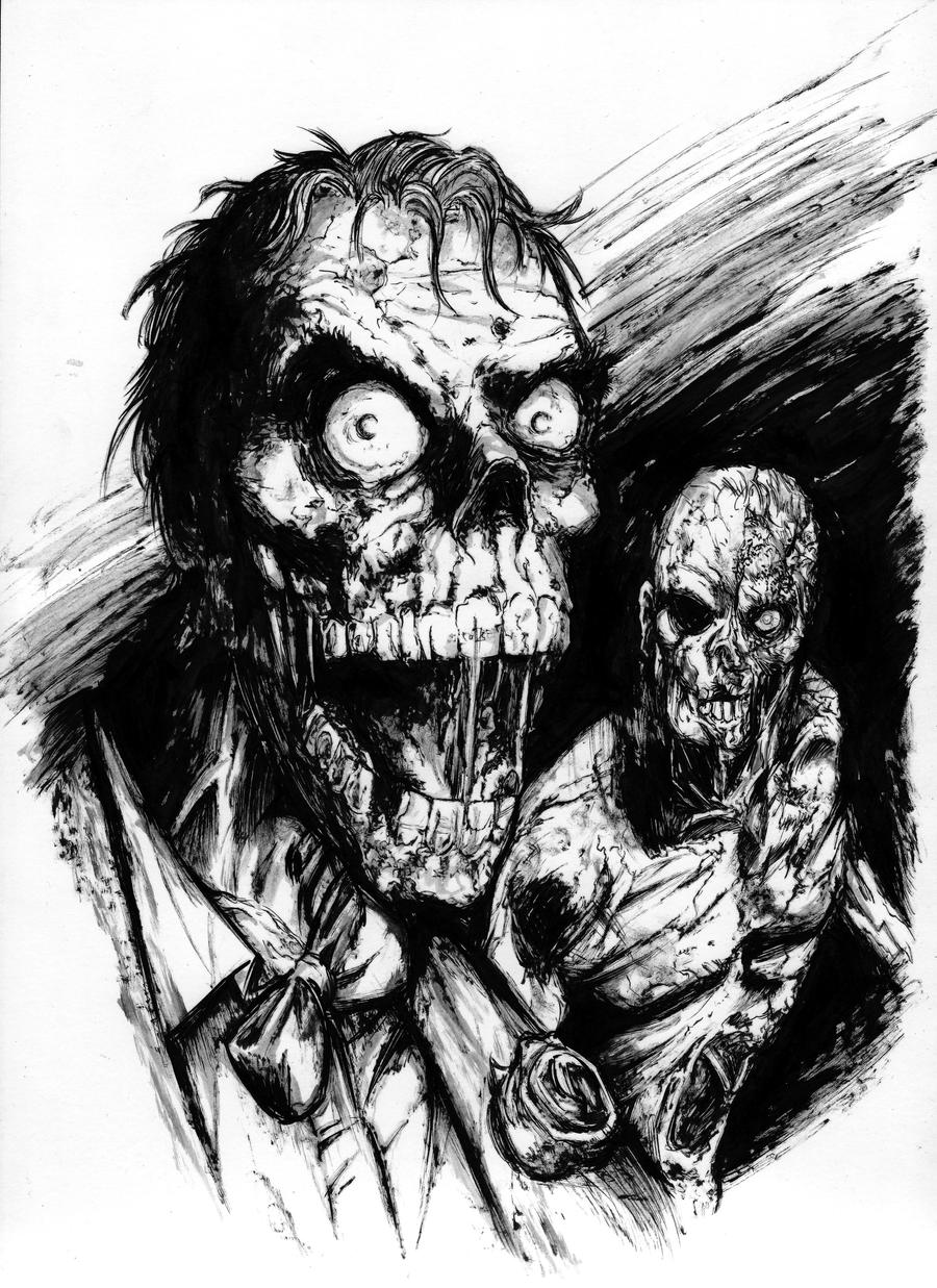 Zombie Face Line Drawing : Zombie joker and two face by frisbeegod on deviantart