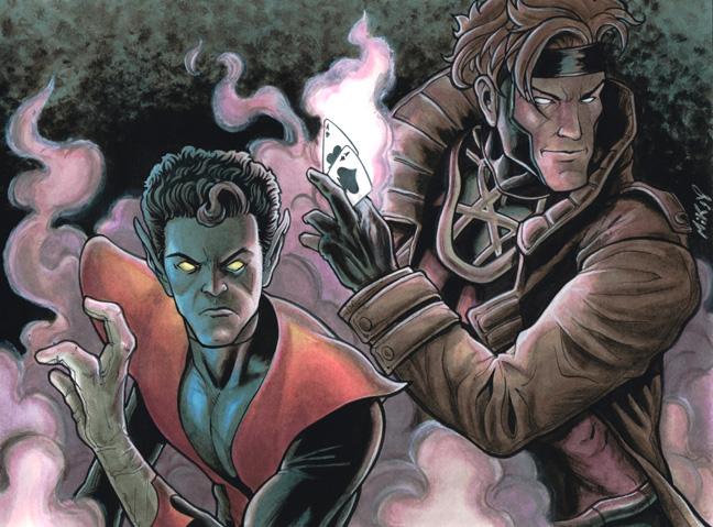Nightcrawler and Gambit by Frisbeegod
