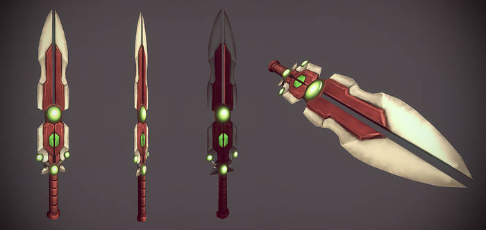 hand painted low poly sword