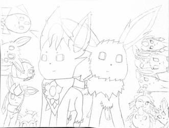 [Sketch] Team Eevees x Eeveelution Squad (again)