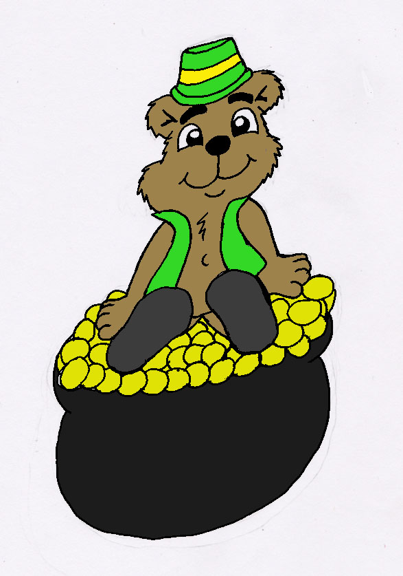 Leprecaun Bear Sitting On Pot Of Gold by 101boy