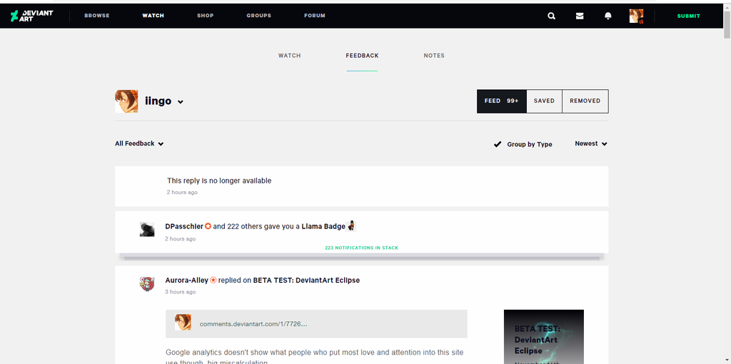 My Thoughts on the New Watch/Feedback System by iingo on