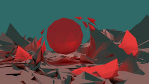 HD Low Poly Wallpaper (red/teal)