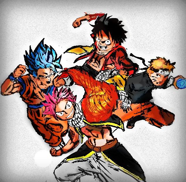 Natsu, Goku, Naruto, & Luffy