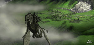 Nazgul over Pelennor fields by woutart