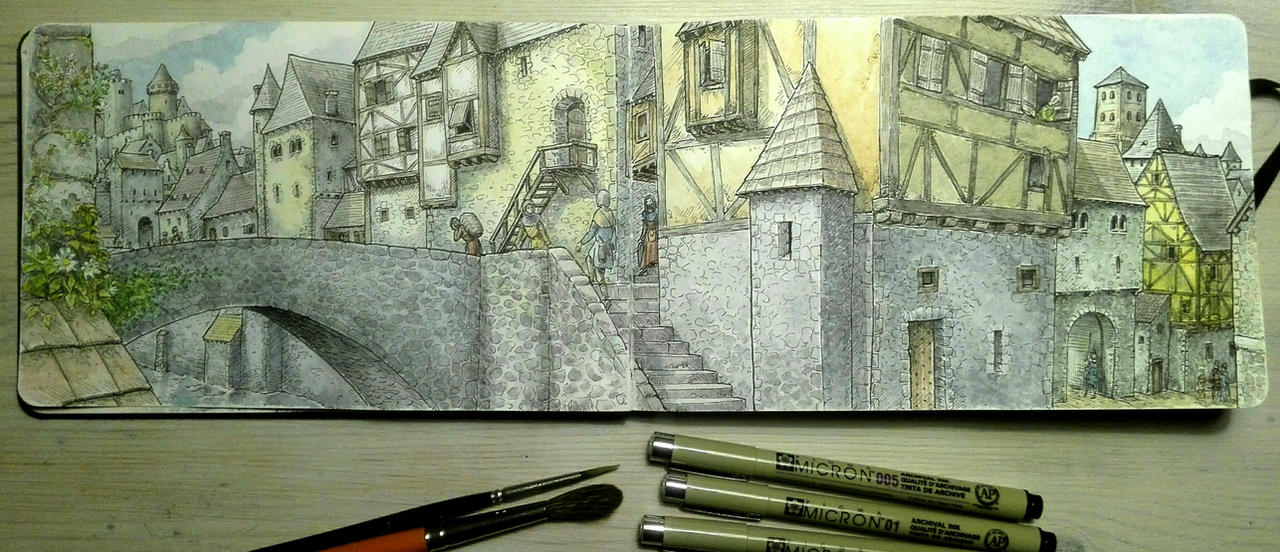 Sketchbook: Medieval Town (fictional) by woutart