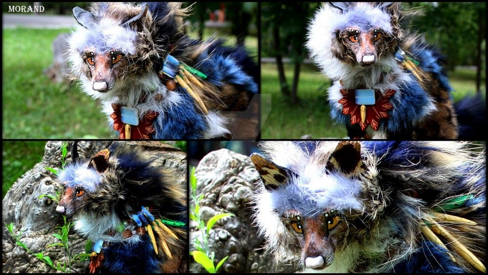 Commission totem hyena Tuuny (faces) by Lunghonning