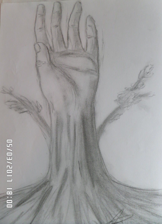 The TreeHand - Charcoal (fusain) by AuroreMaudite09