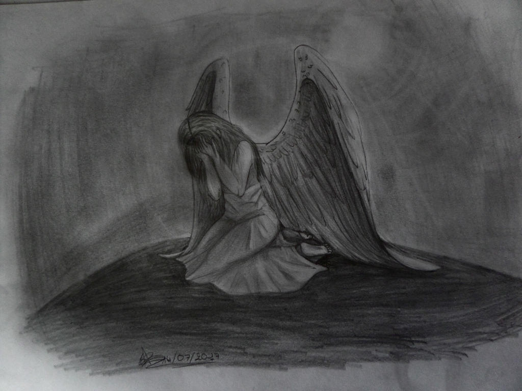 Crying angel-Ange pleureur by AuroreMaudite09