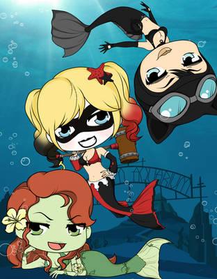 Arkham Aquarium - Gotham Mermaids by Mibu-no-ookami