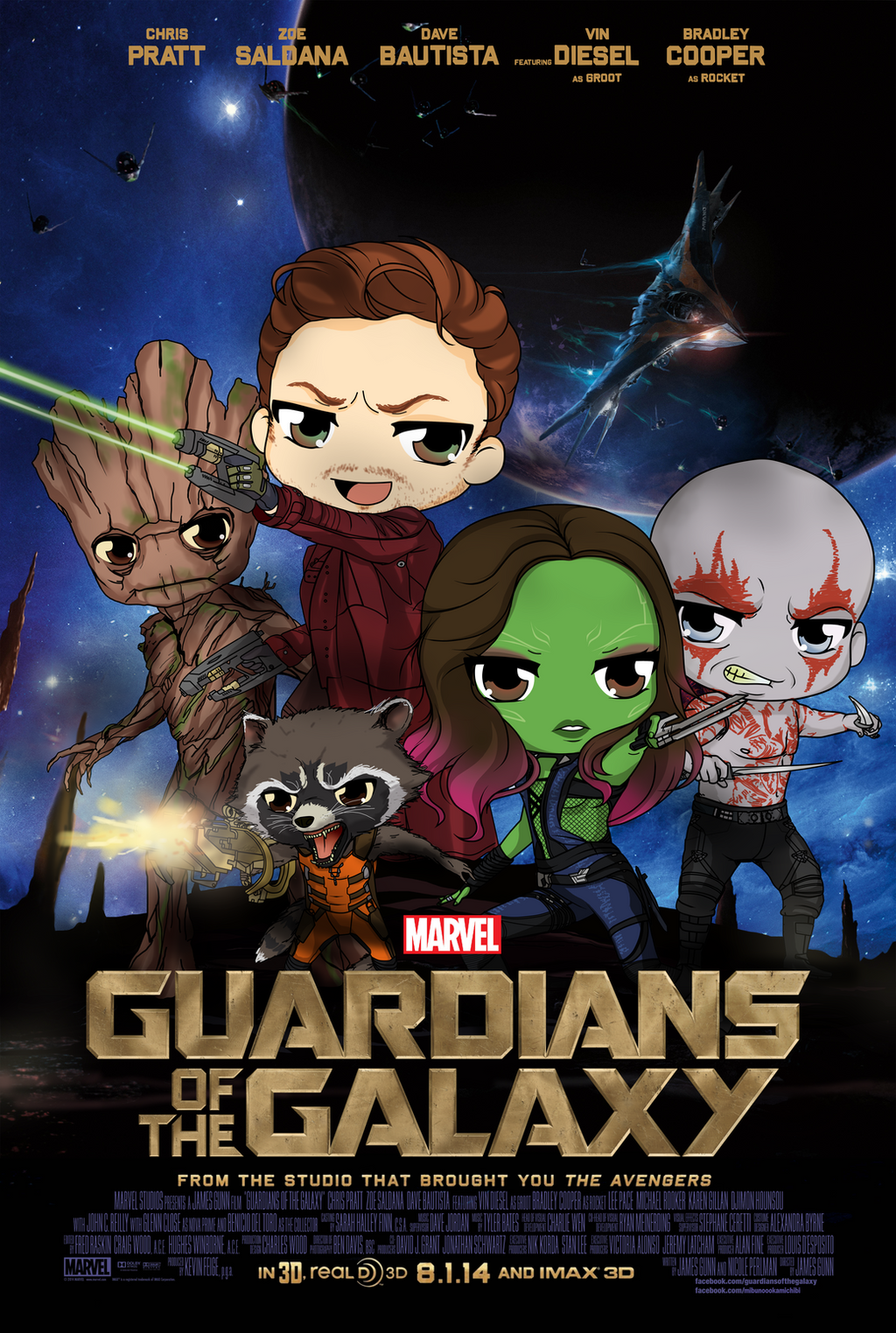 Guardians Of The Gallaxy - Chibi Poster by Mibu-no-ookami
