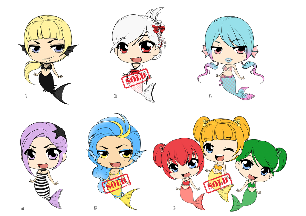 [Auction OPEN] Adoptable MERMAID SET - UPDATED by Mibu-no-ookami