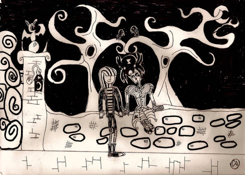 Goth lovers by the gate