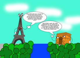 Eiffel Tower and arc de triomphe in french by Christopia1984