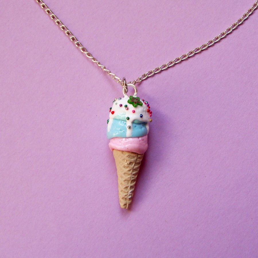 Triple Ice Cream Necklace by CherryRedCheeks