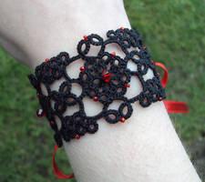 Lizzie tatted lace-up cuff