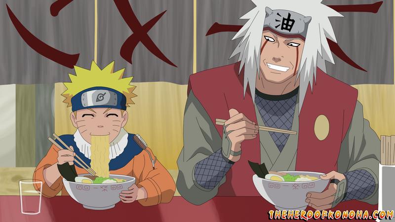 Top 5 Anime Characters Who Eat A Lot : Naruto and jiraiya eating ramen at ichiraku by