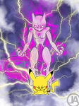 Pikachu and Mewtwo - Smash Bros Poster