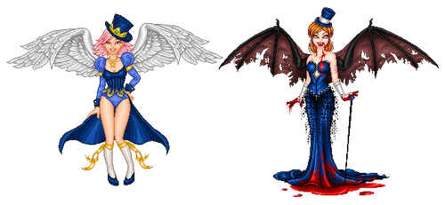 Top hat angel and demon by ImaginaryKarin