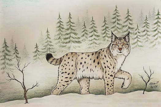 Wintery Christmas card 2017 - Lynx