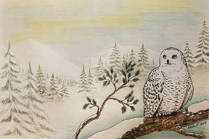 Wintery Christmas card 2017 - Snowy Owl