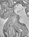 Girl hair line drawing by MOHIT KUMAR RAO ARTIST