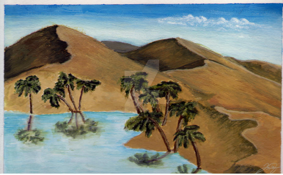 Painting of a Desert Oasis-Gouache on canvas