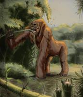 Gigantopithecus Feeding by FutureAesthetic
