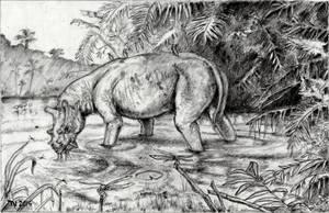 Uintatherium Feeding by FutureAesthetic