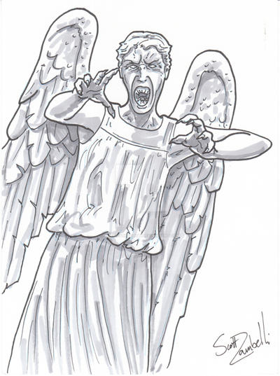 Weeping Angels Dr Who 5x7 Grey Scale Commissions By