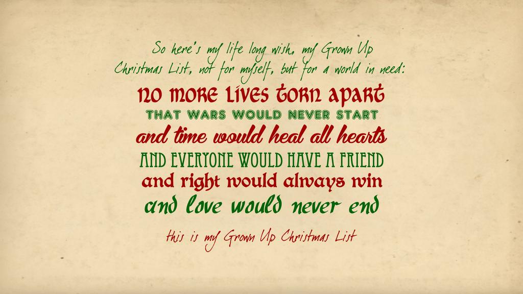 Grown Up Christmas List Wallpaper by VampireLouislove on DeviantArt