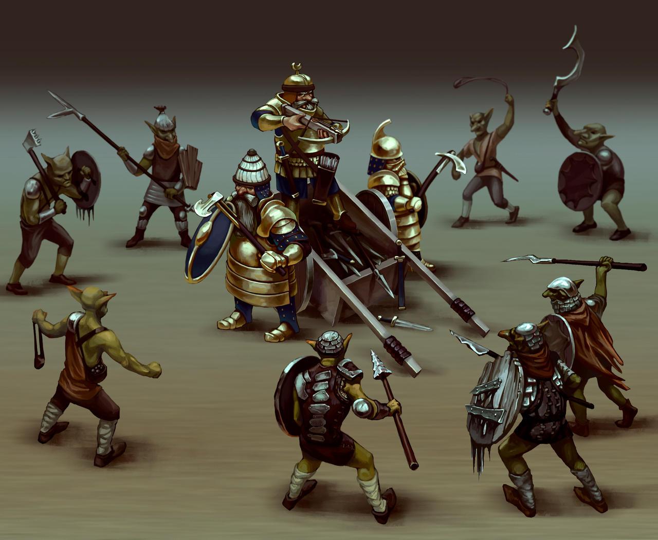 Dwarves and Goblins Fantasy Scene