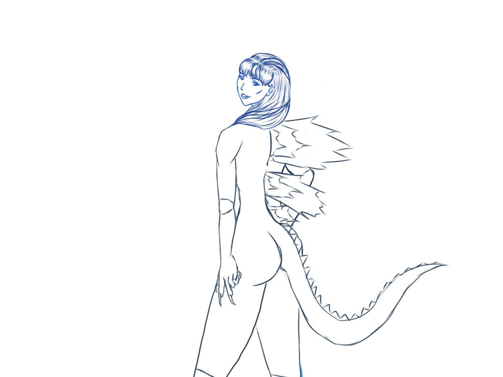 Sketch: Twilight Sparkle in a godzilla costume by HannaEsser