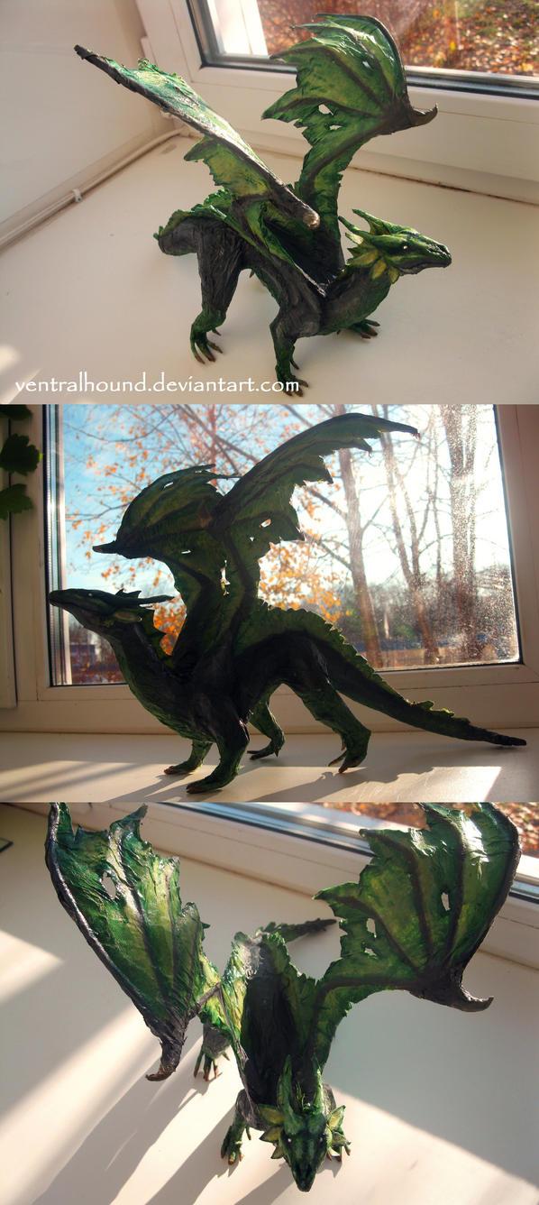 Green-Grey Dragoness by VentralHound