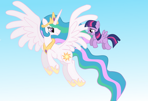AT: Celestia and Pegasus Twilight by WillowTails