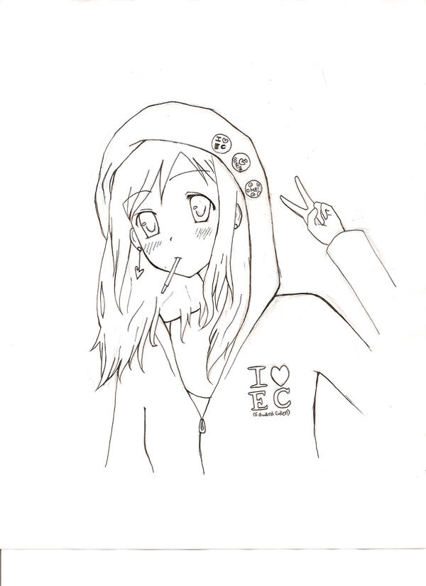 hoodie girl lineart by godzilla23How To Draw Anime Girl With Hoodie
