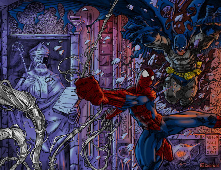 Batman Spiderman Colorized by DanielMead