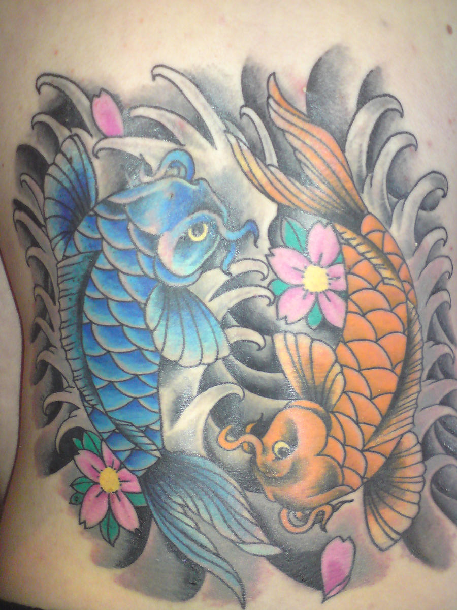 Yin and yang koi fish tattoo by sparxthemosh on deviantart for Yin yang fish tattoo