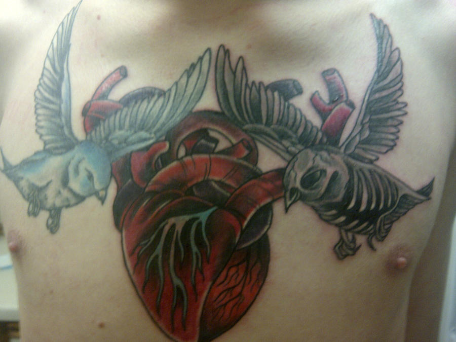 Life And Death Sparrow, Human Heart Tattoo By Sparxthemosh
