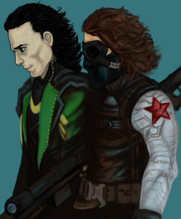 Loki and Bucky team up - WIP by SophieOfAsgard