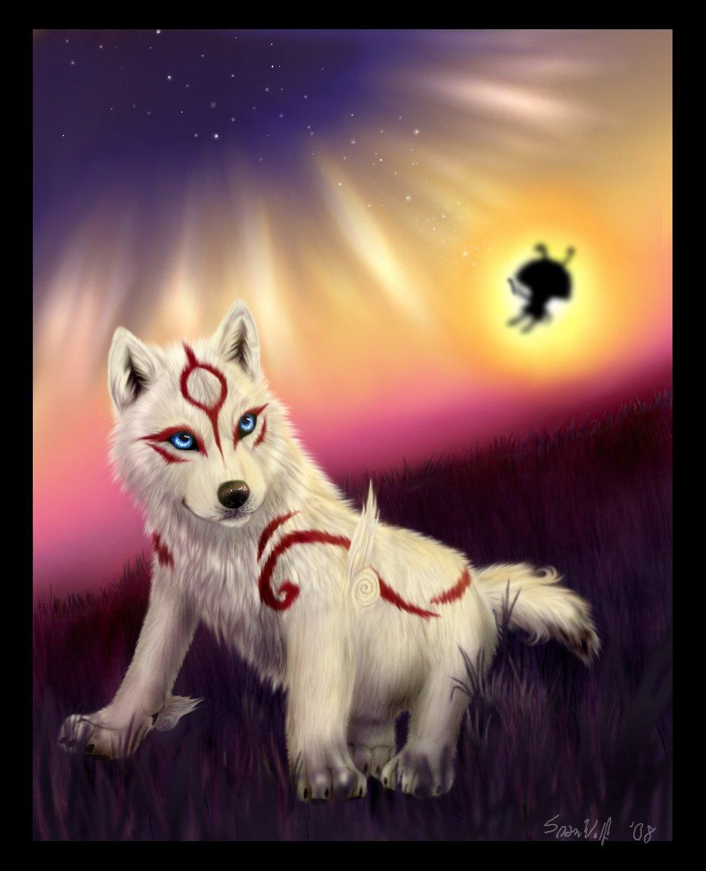 Sunfire the She-Wolf Okami___The_Sun_Rises_by_SnowWolfMystic