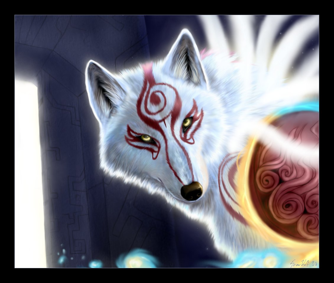 The forms of amaterasu Okami__Through_the_Spirit_Gate_by_SnowWolfMystic
