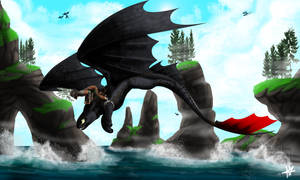 Hiccup and Toothless - Flying High