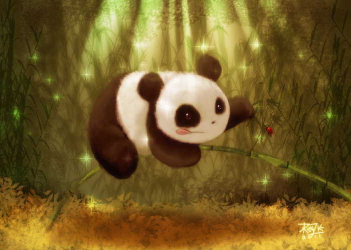 Golden Sparkly Panda Forest by azurespiritwolf
