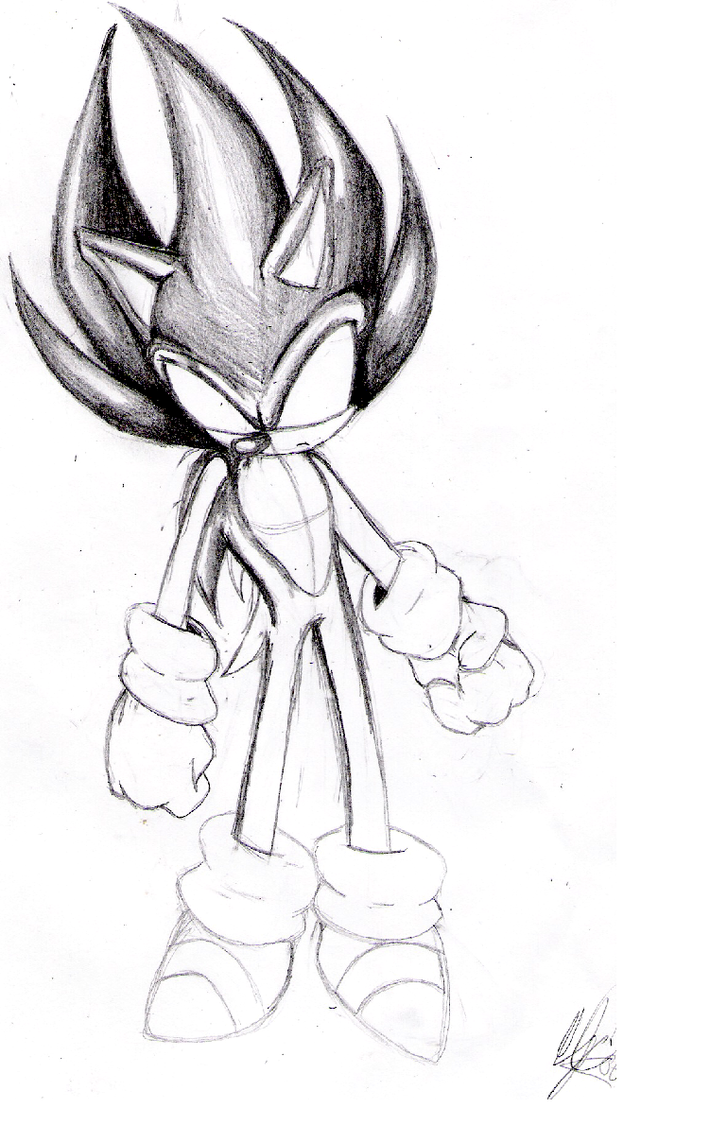 dark super sonic sketch by cj01 on deviantart