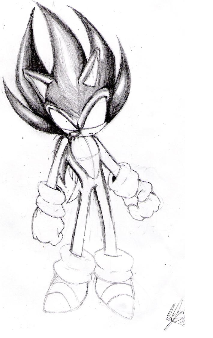 dark super sonic sketch by cj01 on deviantart