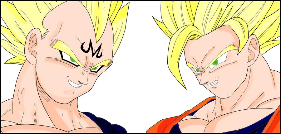 Majin Vegeta Vs Ssj2 Goku Lineart By Brusselthesaiyan On: Majin Vegeta Vs. Goku By Lenbeezy On DeviantArt